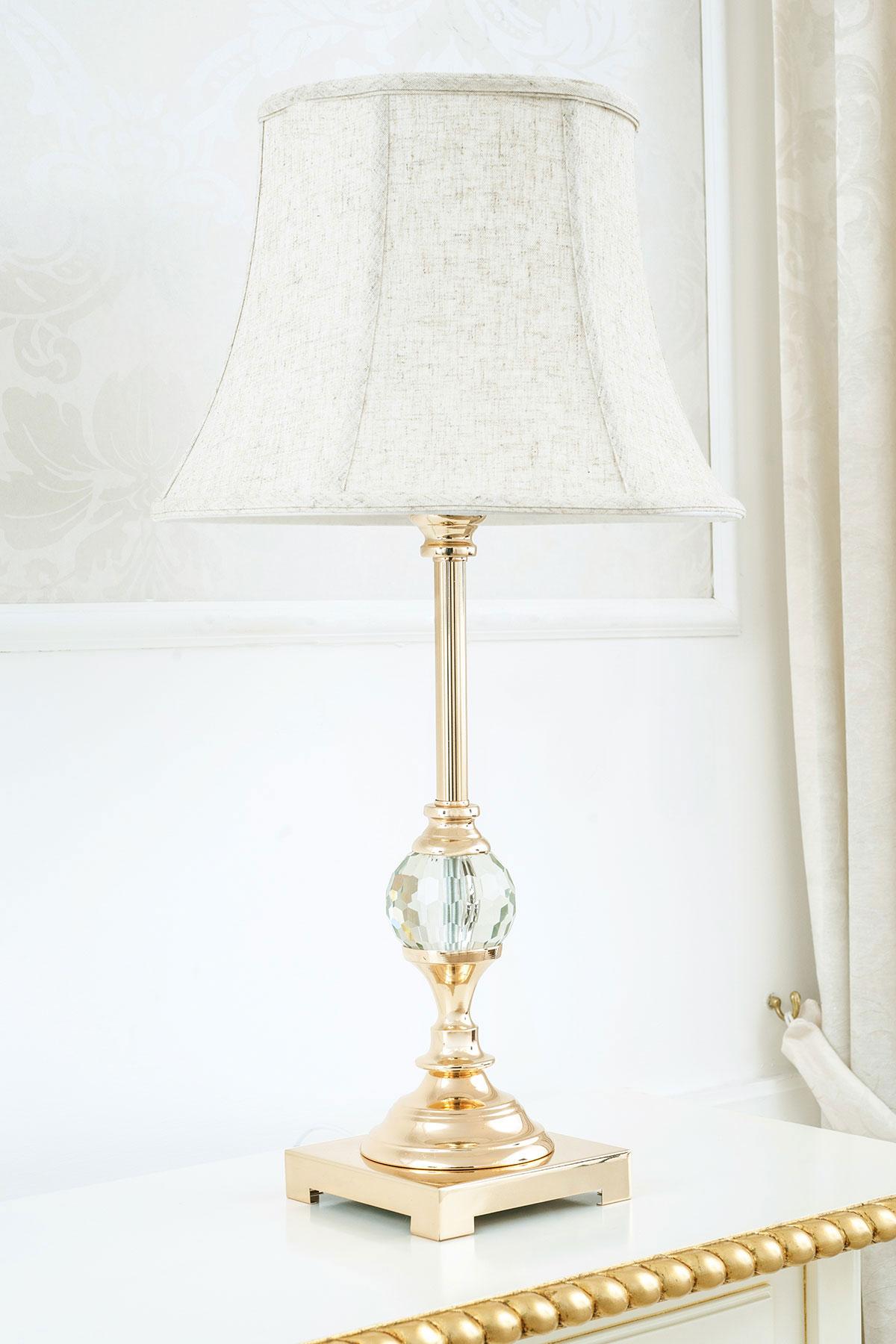 abatjou con sobremesa clásica Lámpara panta con Roxanne de de oro Detalles cristal en esfera E2DHWIY9